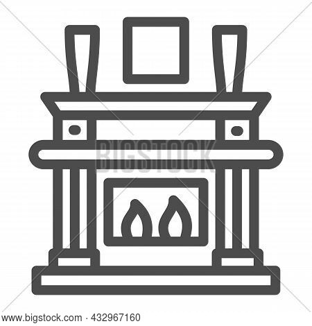 Fireplace, Fireside In Living Room Line Icon, Interior Design Concept, Chimney Vector Sign On White