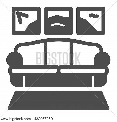 Carpet, Sofa, Panoramic Painting Solid Icon, Design Concept, Couch In Living Room Vector Sign On Whi