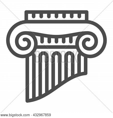 Fragment Of Greek Column Line Icon, Interior Design Concept, Part Of Ancient Column Vector Sign On W