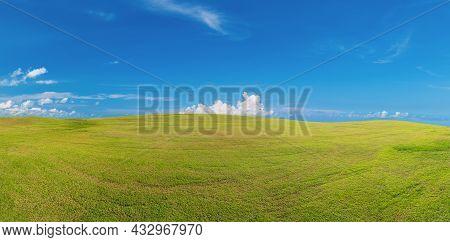 Panoramic Green Grass On Golf Field