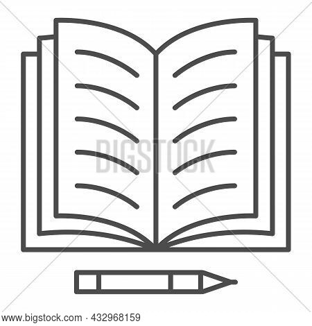 Notes In Open Notebook And Pencil Thin Line Icon, Education Concept, Copy Book And Pen Vector Sign O