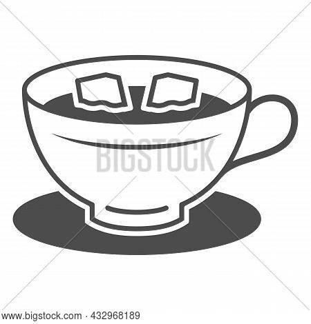 Cup Of Coffee With Lumps Of Sugar On Saucer Solid Icon, Hot Beverages Concept, Mug Vector Sign On Wh
