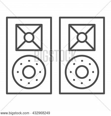 Monitor Speakers, Studio Acoustic System Thin Line Icon, Sound Design Concept, Audio Set Vector Sign