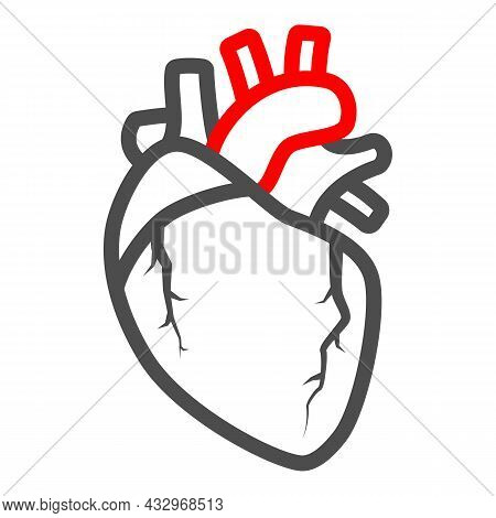 Heart Valve Problem Line Icon, Body Pain Concept, Heart Valves Disease Vector Sign On White Backgrou