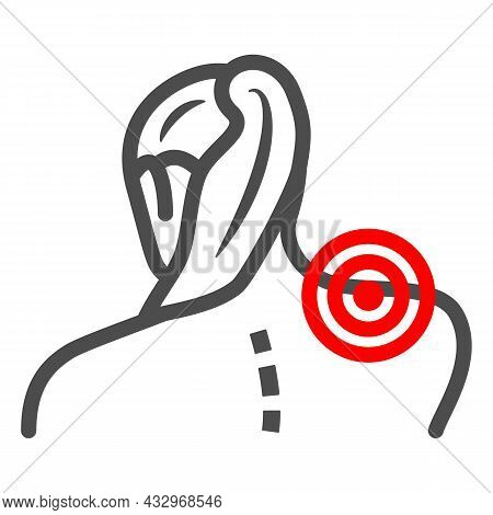 Woman Neck Hurts Line Icon, Body Pain Concept, Neck Pain Vector Sign On White Background, Outline St
