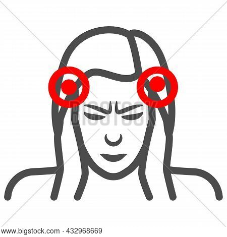 Woman Temples Hurt Line Icon, Body Pain Concept, Person Has Pain In The Temples Vector Sign On White