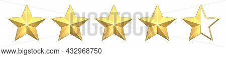 Four And A Half Gold Stars Customer Icon For Product Rating Review. 3d Rendering Of 4 And A Half Gol