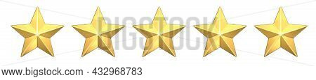 Five Gold Stars Customer Icon For Product Rating Review. 3d Rendering Of 5 Golden Stars For Website