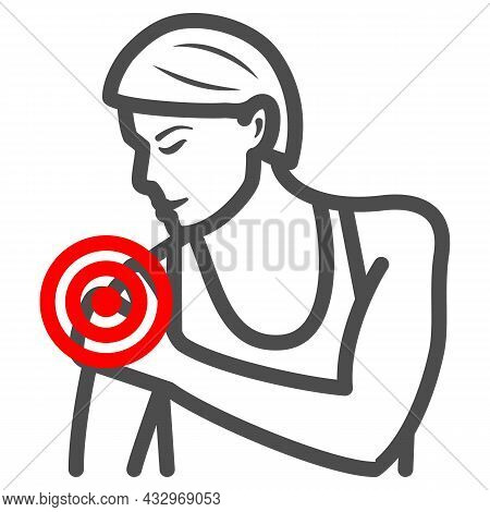 Woman Shoulder Hurts Line Icon, Body Pain Concept, Shoulder Pain Vector Sign On White Background, Ou