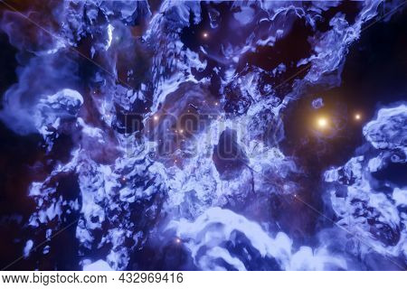 3d Illustration Of Realistic Purple Cosmic Sky With Stars. A Raging Sea With Foam And Huge Waves Ref