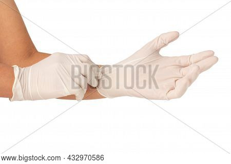 Hands Are Wearing White Rubber Gloves And Pulling Isolated On White Background,  Gloves Protect Hand