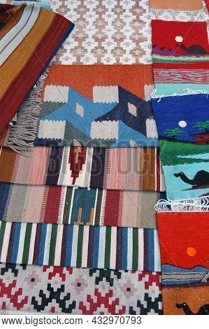 Hand Woven Woolen Carpets For Sale In The Bazaar Of Old Tripoli, Libya.