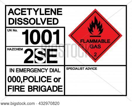 Acetylene Dissolved Un 1001 Symbol Sign, Vector Illustration, Isolate On White Background, Label .ep