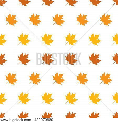 Seamless Pattern Of Maple Leaves On White Background, Simple Pattern With The Graphic Maple Leaf. Pa