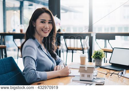 Business Woman Hand And Contract Agreement Paper With Customer To Sign Contract. Real Estate And Agr