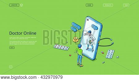 Doctor Online Isometric Landing Page, Telehealth Service, Distance Medicine Application For Mobile P