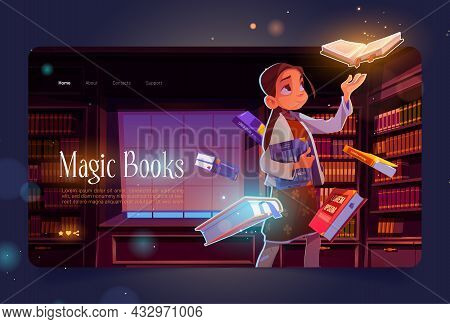 Magic Books Cartoon Landing Page, Young Girl In Library At Night Time With Glowing Volumes Flying Ar