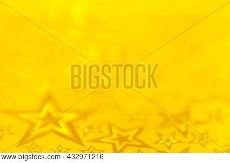 Stars Abstract Lights, Yellow Blurred Background. Abstract Background Christmas Lights Festive With