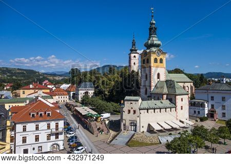 BANSKA BYSTRICA - SLOVAKIA, AUGUST 29, 2014: View at city centre and Barbakan castle from the church Belfry tower