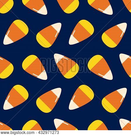Cute Cartoon Style Candy Corn, Halloween Sweets Vector Seamless Pattern Background.