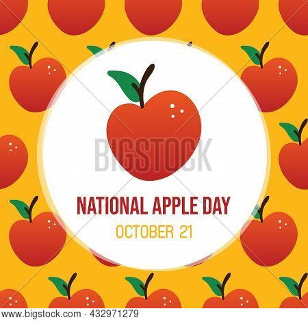 National Apple Day Greeting Card, Vector Illustration With Cartoon Style Red Apple And Seamless Patt