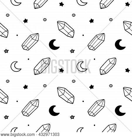 Cute Doodle Style Crystals, Gems, Moon Symbols And Stars Vector Seamless Pattern Background For Magi