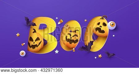 Halloween Banner Design With Paper Cut Boo Typography And Pumkin Festive Elements Halloween