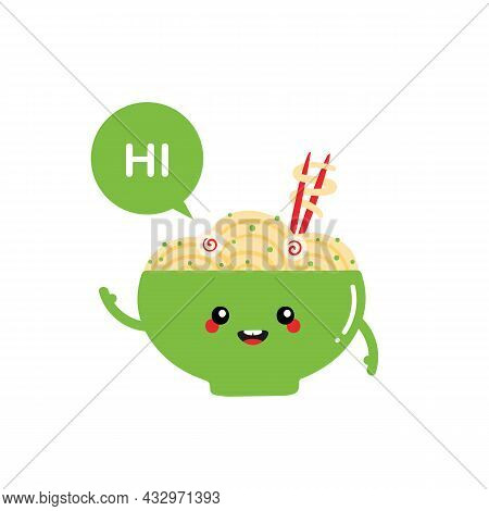 Cute Smiling Cartoon Style Green Bowl Of Noodles, Asian Soup Character With Speech Bubble Saying Hi,