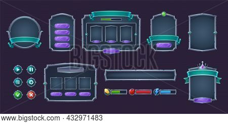 Game Buttons And Frames With Metal Border. Design Elements And Assets For User Interface. Vector Car