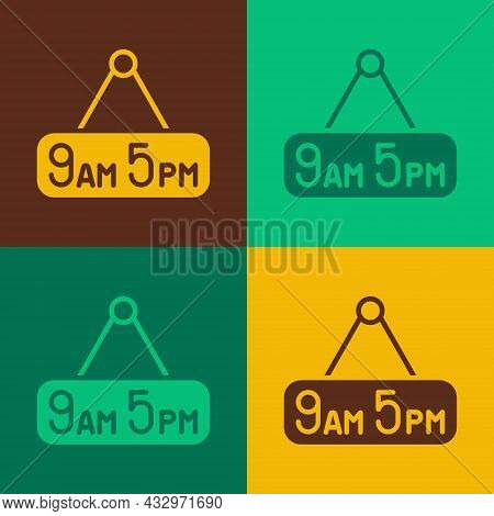 Pop Art From 9 To 5 Job Icon Isolated On Color Background. Concept Meaning Work Time Schedule Daily