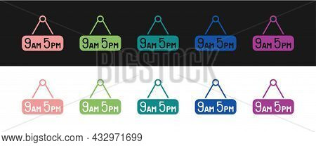 Set From 9 To 5 Job Icon Isolated On Black And White Background. Concept Meaning Work Time Schedule