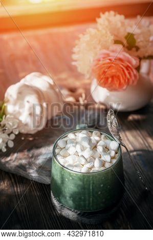 Coffee With Marshmallows. A Delicious Drink Made Of Cocoa Or Hot Chocolate With Marshmallows In A Cu