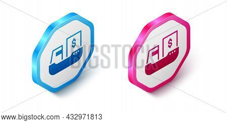 Isometric Cargo Ship With Boxes Delivery Service Icon Isolated On White Background. Delivery, Transp