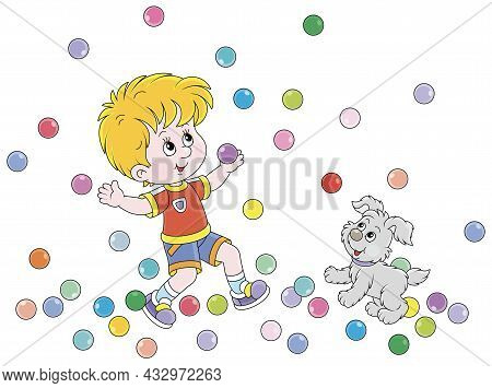 Happy Little Boy And His Cute Merry Pup Playing With Jumping Color Balls On A Playground, Vector Car