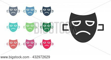 Black Drama Theatrical Mask Icon Isolated On White Background. Set Icons Colorful. Vector