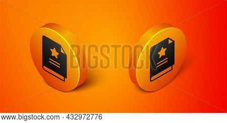 Isometric Scenario Icon Isolated On Orange Background. Script Reading Concept For Art Project, Films