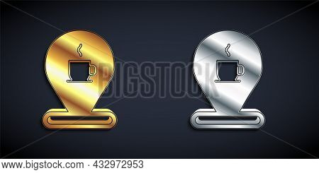 Gold And Silver Location With Coffee Cup Icon Isolated On Black Background. Long Shadow Style. Vecto