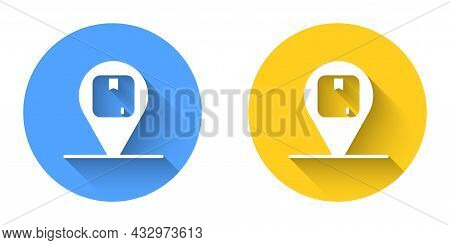 White Location With Cardboard Box Icon Isolated With Long Shadow Background. Delivery Services, Logi