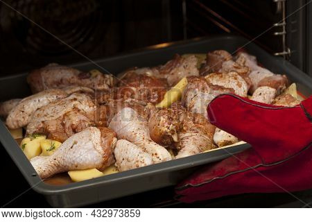 Cooking Chicken Meat With Potatoes In The Oven