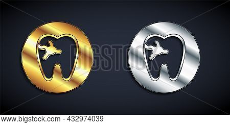 Gold And Silver Tooth With Caries Icon Isolated On Black Background. Tooth Decay. Long Shadow Style.