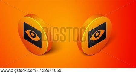 Isometric Red Eye Effect Icon Isolated On Orange Background. Eye Redness Sign. Inflammatory Disease
