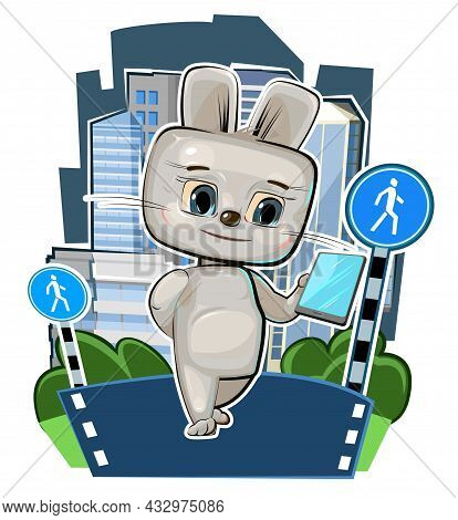 Cute Kid Hare With A Smartphone In The Pedestrian Zone. Traffic Laws. Good Kid Animal. Illustration