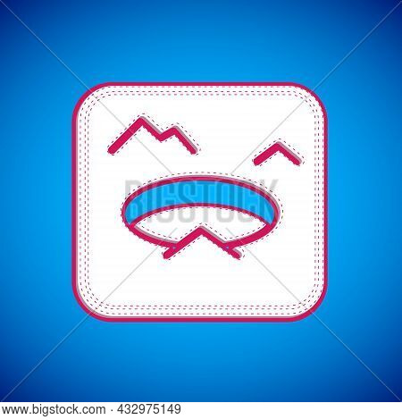 White Winter Fishing Icon Isolated On Blue Background. Round Ice Frame. Hole In Ice. Vector
