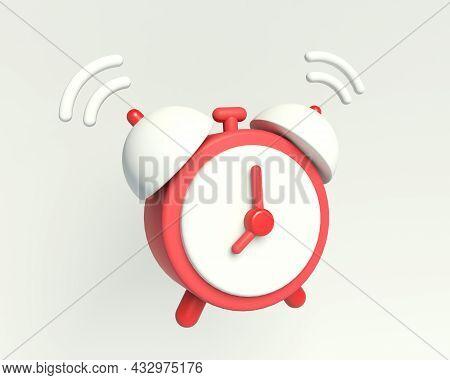 Alarm Clock Icon. Icon Of The Ringing Alarm Clock. 3d Render Illustration