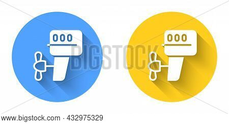 White Outboard Boat Motor Icon Isolated With Long Shadow Background. Boat Engine. Circle Button. Vec