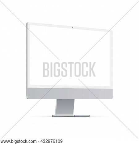 Pc Monitor Mockup With Blank Screen, Side View, Isolated On White Background. Vector Illustration