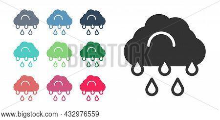 Black Cloud With Rain Icon Isolated On White Background. Rain Cloud Precipitation With Rain Drops. S