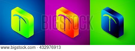 Isometric Pickaxe Icon Isolated On Blue, Purple And Green Background. Square Button. Vector