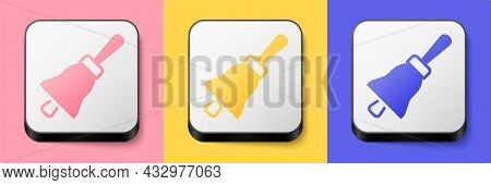 Isometric Ringing Bell Icon Isolated On Pink, Yellow And Blue Background. Alarm Symbol, Service Bell