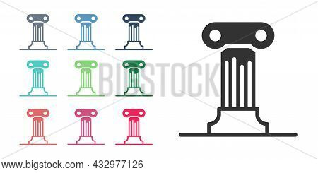 Black Law Pillar Icon Isolated On White Background. Ancient Column. Set Icons Colorful. Vector
